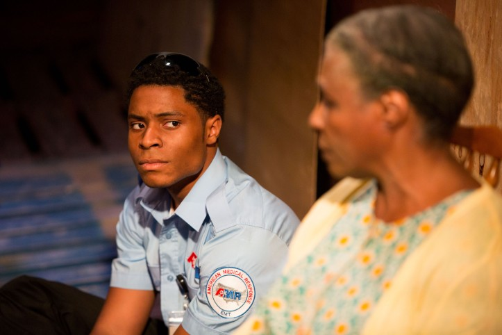 The Play About My Dad - Jermyn Street Theatre - Ammar Duffus (Kenny Tyson), Miquel Brown (Essie Watson)- photo Harry Livingstone
