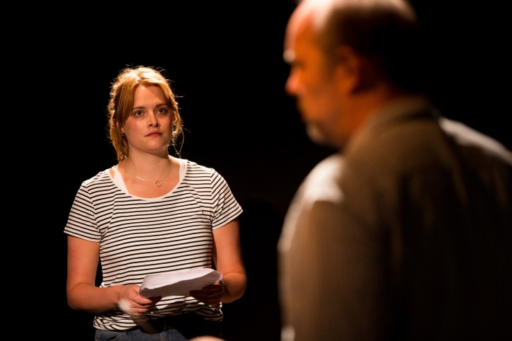 The Play About My Dad - Jermyn Street Theatre - Hannah Britland (Boo Killebrew), David Schaal (Larry Killebrew) - photo Harry Livingstone