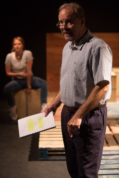 The Play About My Dad - Jermyn Street Theatre - Hannah Britland (Boo Killebrew), David Schaal (Larry Killebrew) - photo Harry Livingstone