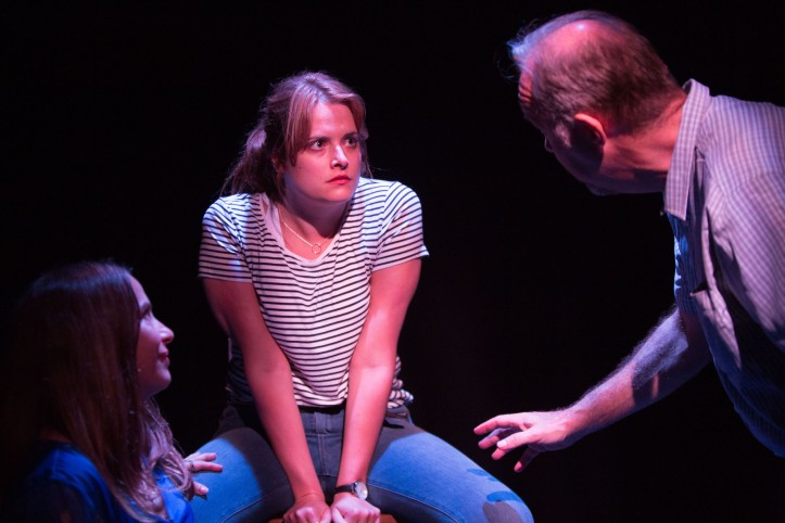 The Play About My Dad - Jermyn Street Theatre - Juliet Cowan (Sallye Killebrew), Hannah Britland (Boo Killebrew), David Schaal (Larry Killebrew) - photo Harry Livingstone