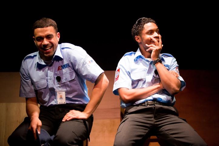 The Play About My Dad - Jermyn Street Theatre - Nathan Welsh (Neil Plitt), Ammar Duffus (Kenny Tyson) - photo Harry Livingstone