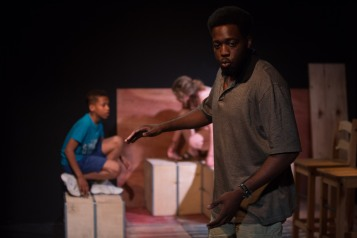The Play About My Dad - Jermyn Street Theatre - T'jai Adu-Yeboah (Michael Thomas), Annabel Bates (Rena Thomas), Joel Lawes (Jay Thomas) - photo Harry Livingstone