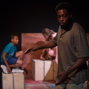 The Play About My Dad - Jermyn Street Theatre - T'jai Adu-Yeboah (Michael Thomas), Annabel Bates (Rena Thomas), Joel Lawes (Jay Thomas) - photo Harry Livingstone