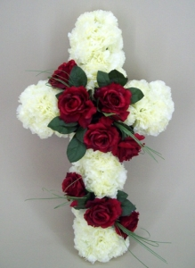 Silk Funeral Flowers Red Rose Cross AF016-750x750